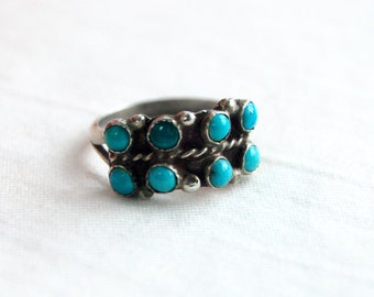 Turquoise Ring Band Native American Sterling Silver Size 5 .75 Vintage Snake Eye Southwestern Jewelry