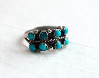 Turquoise Ring Band Size 5 .75 Vintage Snake Eye Turquoise Stones Southwestern Stacking Jewelry