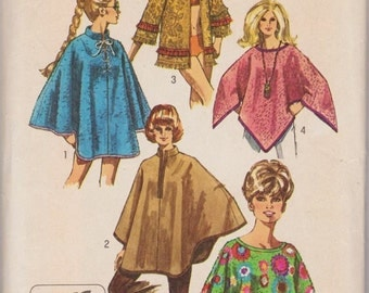 Simplicity 8850, Vintage Sewing Pattern, Poncho Pattern, Cape