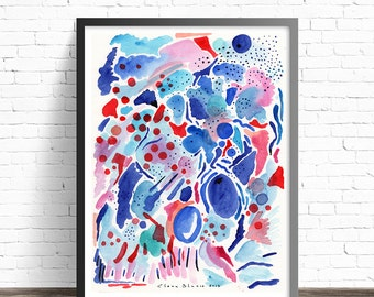 Abstract painting print. Abstract Watercolor Print. Red and blue abstract print. Living room wall art prints. Modern abstract art print