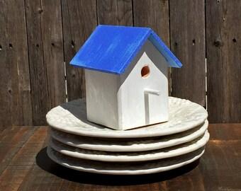 Small Birdhouse, Sky Blue & White