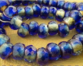 Dark Blue Faceted Czech Glass
