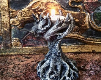 Yggdrasil the World Tree Tealight Holder, Pewter Finish