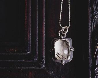 Black Tourmaline in Quartz Necklace-Tourmalinated Quartz Pendant-Sterling Silver Tourmaline Quartz Jewellery-Unique Pendants-OOAK