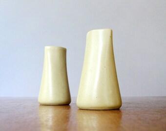 Pair Vintage Japanese Modern Ceramic Tiny Taper Candle Holders