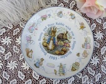 Wedgwood Peter Rabbit 1983 Birthday Plate, Beatrix Potter Peter Rabbit 1983 Birthday