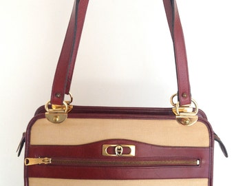 Vintage Etienne Aigner Beige Linen and Burgundy Leather Satchel Handbag