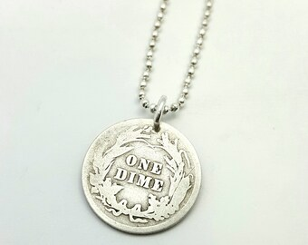Antique 1916 Silver Barber dime COIN necklace - USA coin necklace - American necklace - Liberty head necklace - silver coin pendant