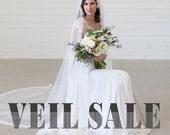 Ivory Cathedral length veil, lace edge veil, eyelash lace veil, bridal veil, wedding veil, mantilla veil, long veil, english net veil, SALE