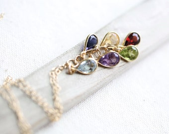 Multi Gemstone Necklace, Amethyst Citrine Peridot Garnet Blue Topaz Iolite, Gold Birthstone Necklace Long Cascade Rainbow Cluster Necklace