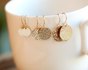 GOLD EARRINGS - gold disc earrings - gold circle earrings - minimalist jewelry - gold jewelry - Bridesmaid Gift earrings - Dangle Earrings