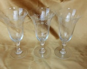 Set of Three Vintage Etched with Leaves and Dots - Crystal Tulip Glasses champagne *eb