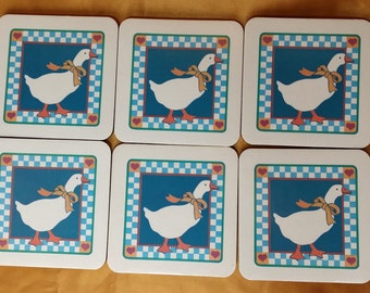 Vintage Country Goose Set of Six 6 with Cork Backs