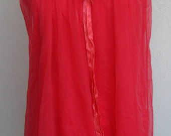Vintage Nightgown Baby Doll Short Gown Red Chiffon Miss Siren Small