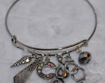 Fifty Shades of Grey Inspired Expandable Wire Bangle Bracelet Anastasia Christian Tie Handcuffs Mask Ice Cream