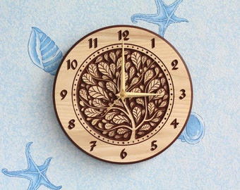 """Wood carved wall clock """"Tree 2"""""""