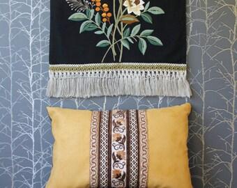 Suede pillow case with ribbons, vegan suede pillow case, lumbar pillow, bohemian decor, folklore style pillow, 25x15 inch decorative pillow