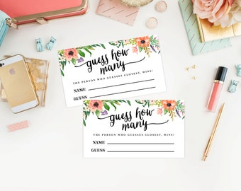 Instant Download - Boho Guessing Game Cards