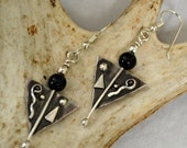 "Sterling silver and onyx earrings.  hand stamped, hand fabricated.  ""Tuesdays triangles"""