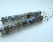 Grey earrings - Labradorite earrings - Long gray earrings - Minimal Earrings - Modern Jewellery - Gray jewelry - Simple Earrings - Gift Idea