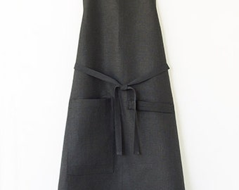 Kitchen Apron in Black with Black Ties