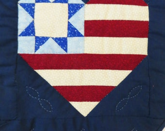 Hand Quilted Table Runner, USA Heart and Star, Patriotic Decor, Red White Blue, Handmade Quilt Decor, Rectangular Table Decoration