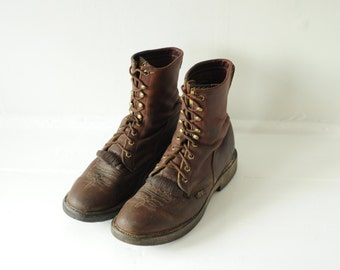 Vintage Justin Brown Leather Roper Work Boots, Made in USA, Mens 9 1/2