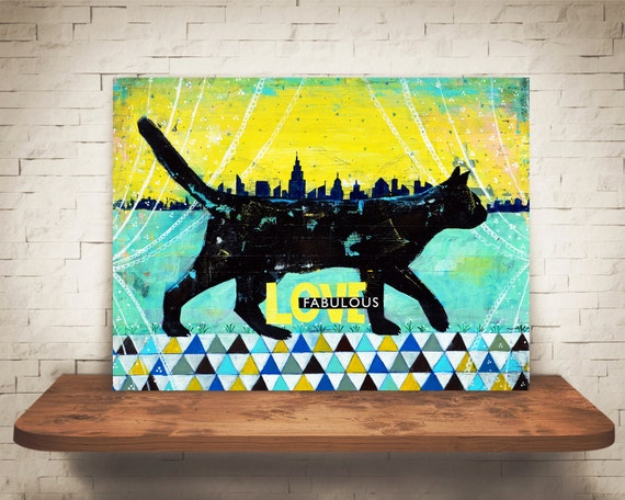 Cat Art Print Cat Home Decor Cat Wall Art Black By
