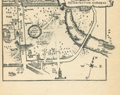 Arthur Rackham Illustration Peter Pan Map of  Kensington Gardens,  Black and White Vintage Print