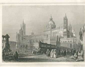 1856 Antique Engraving  Cathedral of Palermo Sicily Italy