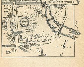 Arthur Rackham Illustration Peter Pan Map of  Kensington Gardens,  Black and White Vintage Print