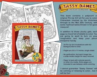 Sassy Dames : Pin-Up Girl Coloring Book