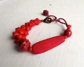 Rouge - handmade bohemian-style eclectic artisan bead bracelet in red, crimson and scarlet - Songbead UK, narrative jewellery