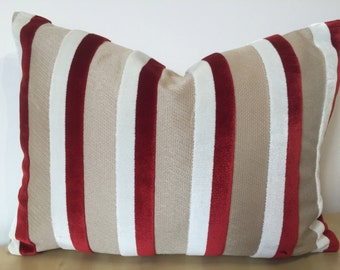Vertical stripe CHERRY RED & WHITE velvet stripes on a golden putty toned background Accent cushion, small lumber cushion cover from Lorca