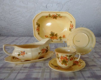 Vintage Taylor, Smith and Taylor China, Marked Madrid, Floral Dish Assortment, Serving Bowl, Gravy Boat with Underplate, Dishes
