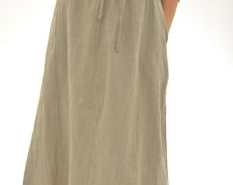 Pure Linen Long Wide Skirt