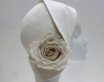 The Anais Hat - Beautiful Cloche Hat w/ Silk Rose - Brides 1920s Hat -Ivory Felt Hat - Winter Hat -Wedding Millinery -En Blanc Fashion