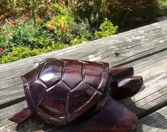 Vintage Wood Carved Sea Turtle Hand Carved Wooden Tortoise Solid Wood Nautical Decor Beach Decor Turtle Sculpture