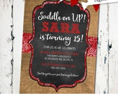 Cowgirl birthday Red White Burlap Chalkboard Bunting Western Barn Bachelorette Party Bridal Invitation (JPD349)