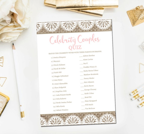 Celebrity Wedding Trivia Questions: Items Similar To Burlap And Lace Bridal Shower Games