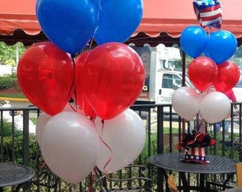 4th of July Decoration Set of 8 Balloons Red White and Blue Balloons July 4th Balloons Fourth of July Balloons Patriotic Decoration