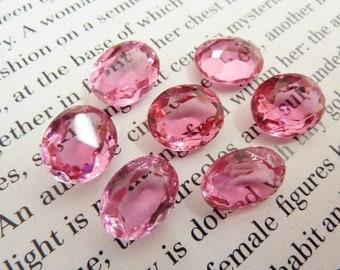 4 glass jewels, 12x10mm, pink, oval