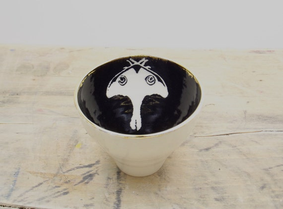 Luna Moth White, Black & Gold Porcelain 5oz. Small Tea Cup, Tea Bowl, Saki Cup