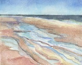 Original Watercolor Artwork Contemporary Ocean Seashore Theme Block Mounted Nauset Tide Orleans MA Cape Cod 8 x 8 by Erica Dale Strzepek