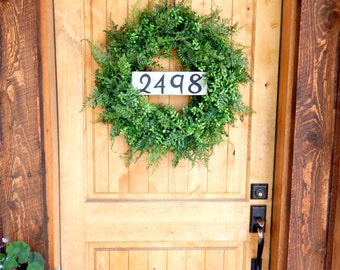 BOXWOOD & FERN Wreath-Door Sign-House Number-Fall Wreath-Outdoor Wreath-Year Round Wreath-Home Decor-Artificial Wreath-Custom Made USA-Gifts