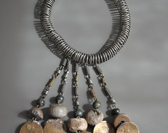 Storewide sale -  MEXICO Dona 1960's Artisan Handmade Hand Wrought Necklace Chain Pre-Columbian Ancient Stone Beads, One of a Kind RARE