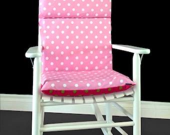 White Polka Dot Pink Rocking Chair Pad