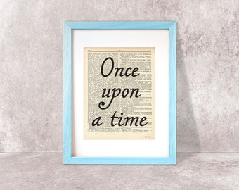 Once upon a time print-wedding print-quote on book page-fairy tale print-Typography print-love print-nnursery print-by NATURA PICTA-DP030