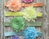 Headband Set, Pastel Rainbow Chiffon Shabby Headband Set-Six Headband Set, Baby Shower Gift