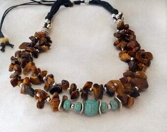 Tiger Eye Necklace, Tribal Necklace, Gypsy Necklace, Multi Strand Stone Necklace,  Turquoise Necklace